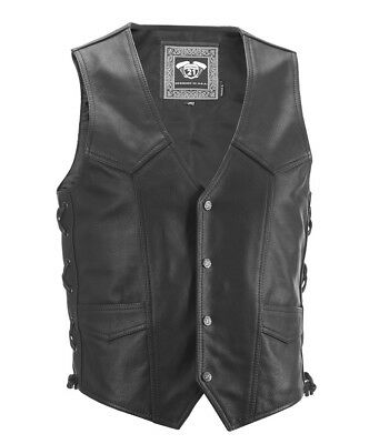 Highway 21 Adult Motorcycle Six Shooter Black Leather Vest S-4XL