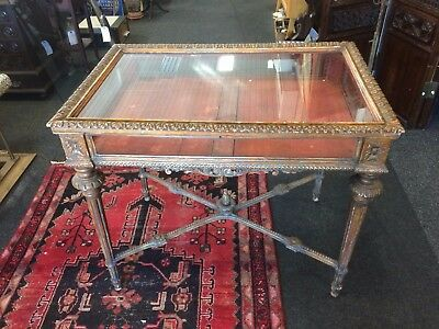 Antique Late 18th Century French Glass And Wooden Gilt Decorated Display Cabinet