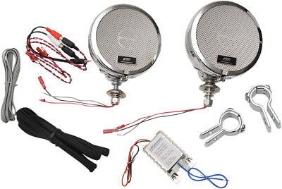 "MH Motorcycle Rumble Road Ultra Amplified Stereo Chrome System For 1"" Bars"