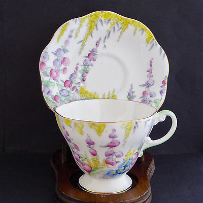 EB Foley Shelley Tea Cup Saucer 2499 Pink Flowers Footed Scalloped England Vtg