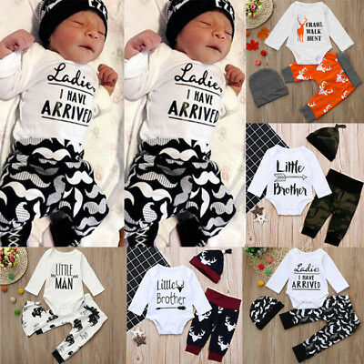 3PCS Newborn Infant Baby Boy Romper Tops+Long Pants Leggings+Hat Outfits Clothes