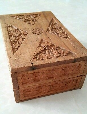 Floral Handcrafted Carved Wood Trinket Box Made in India Artisan Folk Art
