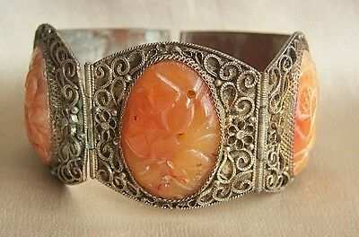 Amazing Rare Chinese Export Art Deco Antique Carved Jade Red Carnelian Bracelet