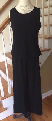 TRAVEL SMITH TravelSmith Black Pull-On Pants Top Comfy Outfit Set Pantsuit MP PM