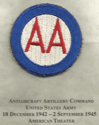 WW 2 US Army Anti-Aircraft Command Patch Inv# JR379