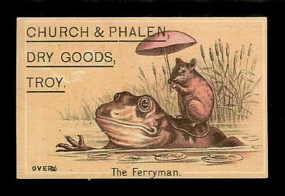 Mouse Rides On Frog's Back-1880s Victorian Trade Card-Troy, NY