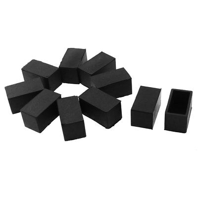 Rectangle Shaped Table Chair Furniture Foot Leg Cap Cover Protector Black 10pcs