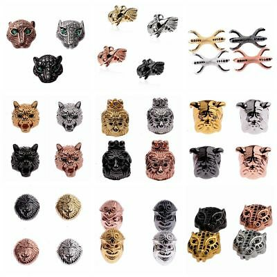 Zircon Micro Pave Crown Lion Wolf Elephant Evil Connector Charm Beads Bracelet