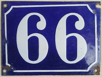 Big old blue French house number 66 99 door gate plate plaque enamel steel sign