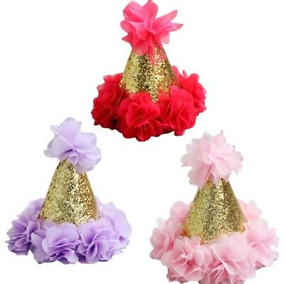 Hot Baby Girl 1st First Birthday Party Hat Headband Cake Smash Photo Prop Outfit