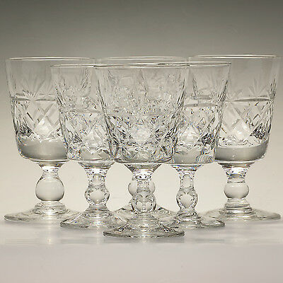 """Royal Brierley Crystal Bruce Six Sherry Glasses Height 3 7/8"""" Signed"""
