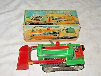 A Vintage Boxed Japanese Tinplate Sarkai Friction Drive Bulldozer Tractor