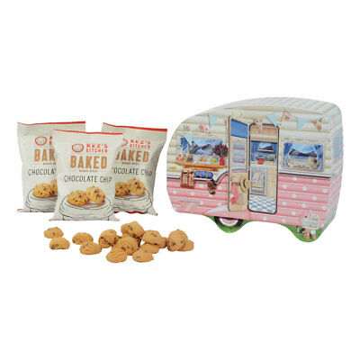 NEW Retro Caravan Embossed Collectable Tin With Chocolate Chip Biscuits