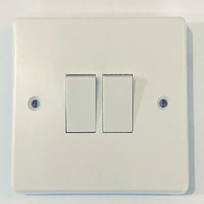 Contactum 10A 10Ax Double 2 Gang 2 Way Wall Plate Light Switch Power White