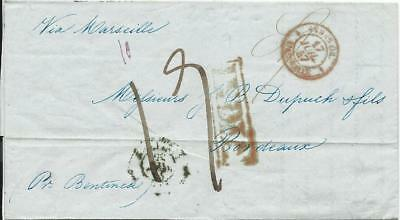 """Indien 1847, red boxed """"Calcutta Ship Letter"""" and """"India"""" on cover to France"""