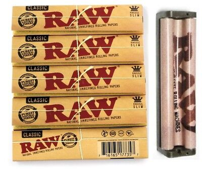 RAW Classic Natural King Size Slim Rolling Papers - 5 Packs +110mm ROLLER