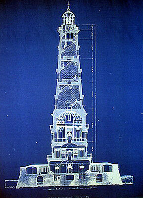 "Vintage Lighthouse Ships Beacon Blueprint Plan 13""x17""  (200)"