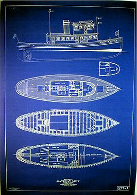 "Vintage San Francisco 1915 Tugboat Blueprint Plans ""23 x 33""  three pages (048)"