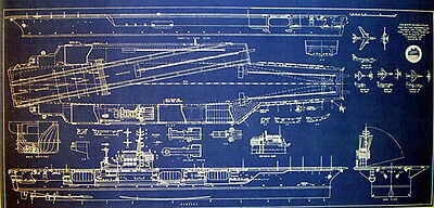 US Navy Aircraft Carrier USS Kitty Hawk CVA-63 Blueprint 17x35  (270)