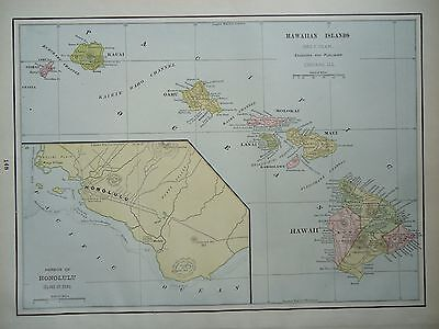 Vintage 1896 ~ HAWAIIAN ISLANDS ~ Map Old Antique Original Atlas Map 86/061617