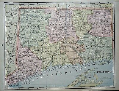Vintage 1896 ~ CONNECTICUT ~ Map Old Antique Original Atlas Map 86/061617
