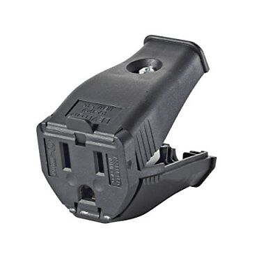 Leviton 3W102-E 2-Pole 3-Wire Grounding Cord Outlet, Black New