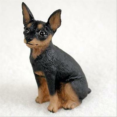 Miniature Pinscher Black Tan Dog Tiny One Miniature Small Hand Painted Figurine