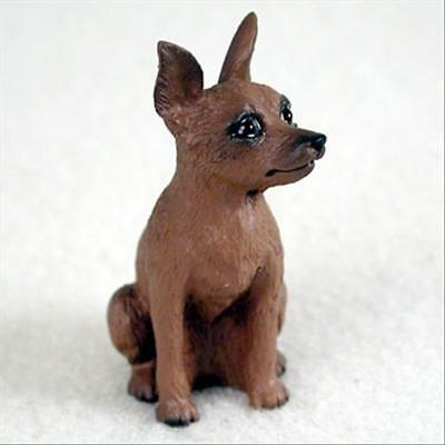 Miniature Pinscher Red Brown Dog Tiny One Miniature Small Hand Painted Figurine