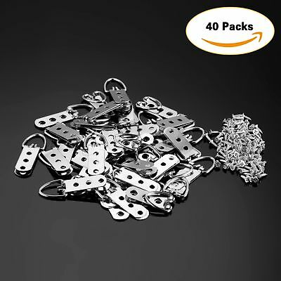40Pcs 64mm*23mm Heavy Duty D-Ring Picture Hangers Frame Hanging 3 Hole+120 Screw