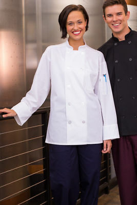 Uncommon Threads Classic Knot W/ Mesh Chef Coat, White, XS to 2XL, 0427