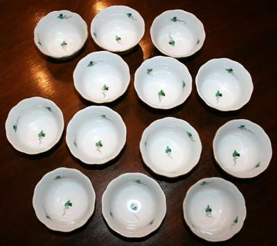 """Herend PERSIL GOLD Bowls Parsley Vines Gold Scrolls Trim 3 7/8"""" W at Rim 1 5/8""""H"""