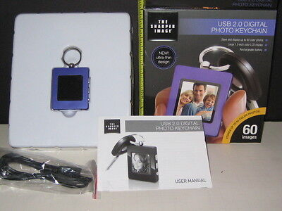"Sharper Image Usb 2.0 Purple Digital Photo Keychain 1.5"" Lcd Color Display  New"