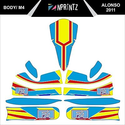 M4 Fa Alonso 2011 Style Full Kart Sticker Kit To Fit M4 Bodywork - Karting - Otk