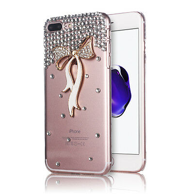 New Bling Glitter Case Crystal Clear Slim Diamond Bow Cover for Girls Women