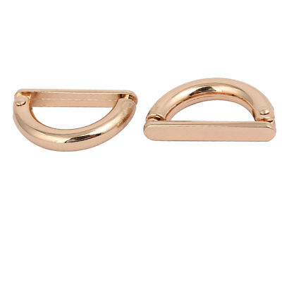 20mm Inner Width Zinc Alloy Half Round Shaped D Ring Buckle Gold Tone 2pcs