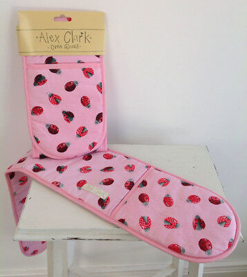 NEW Kitchen Double Oven Mitt Glove 100% Cotton Lovely Ladybirds By Alex Clark