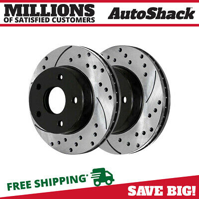 Auto Shack PR44317DSZPR Rear Pair Silver Drilled Slotted Rotors 5 Stud 2