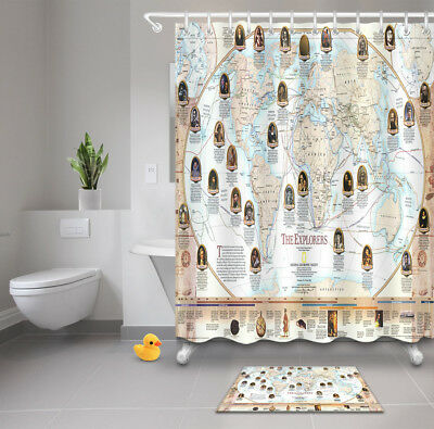 World map bathroom mat waterproof polyester fabric shower curtain 12 world map explorers waterproof bathroom decor shower curtain mat12hook gumiabroncs Image collections