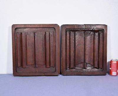 Pair of Antique Gothic Solid Oak Wood Panels with Linen Fold Carvings