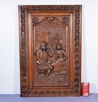*Large French Antique Breton Panel Brittany Chestnut Wood Deeply Hand Carved 1