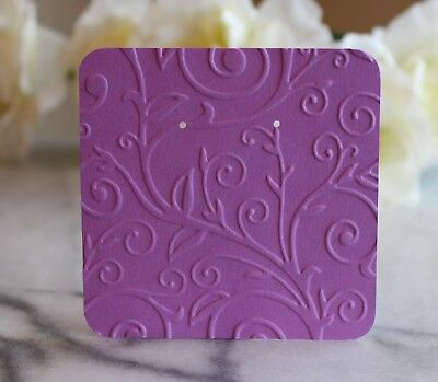 "25 Purple Swirl Earring Cards - 3""x3"" Beautifully Embossed Jewelry Cards - NEW"