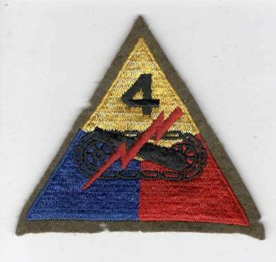 WW 2 US Army 4th Armored Division Wool Patch Inv# B907