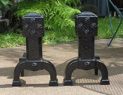 Vtg Cast Iron Gothic Medieval Style Andirons Architectural Chenets Firedogs Pair