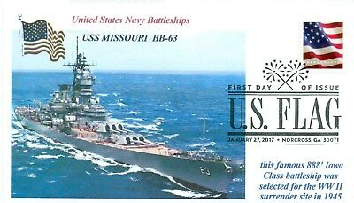 USS MISSOURI BB-63 Battleship at Sea Color Photo Museum Ship First Day Cover