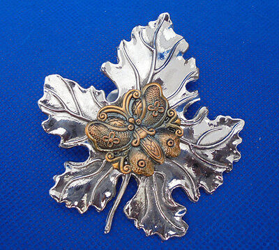 "Signed Sylvia Dahl Hair Scarf Clip Silvertone Maple Leaf Butterfly Center 3"" Pin"