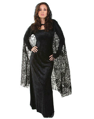 "Sexy Black 55"" Sheer Spiderweb Cape Gothic Vampire Halloween Costume - One Size"