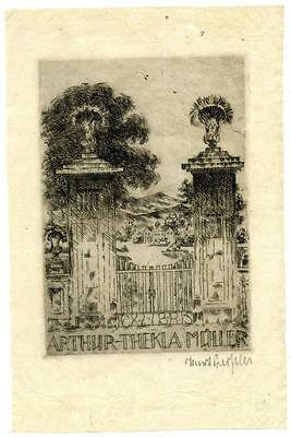 Athur Thekla Muller Antique Bookplate Engraving Etching Artist Hand Signed