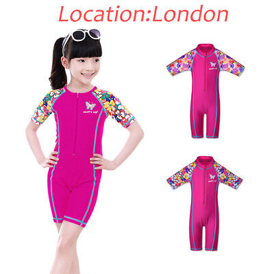 UK Warehouse UV50+ Sun Protrction Swimsuit Surf Swimming Costume 3-10Y For Girls