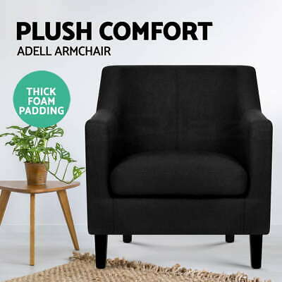 ADELL Armchair Tub Dining Chair Wooden Accent Sofa Lounge Padded Fabric Black