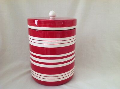 "Laura Ashley Red Striped 7.75"" Lidded Storage Jar Excellent Used Condition First"